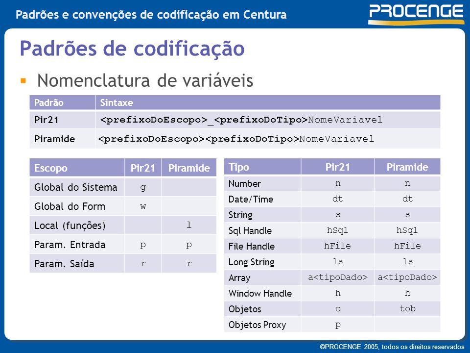 ©PROCENGE 2005, todos os direitos reservados Padrões e convenções de codificação em Centura  Nomenclatura de variáveis Padrões de codificação PadrãoS