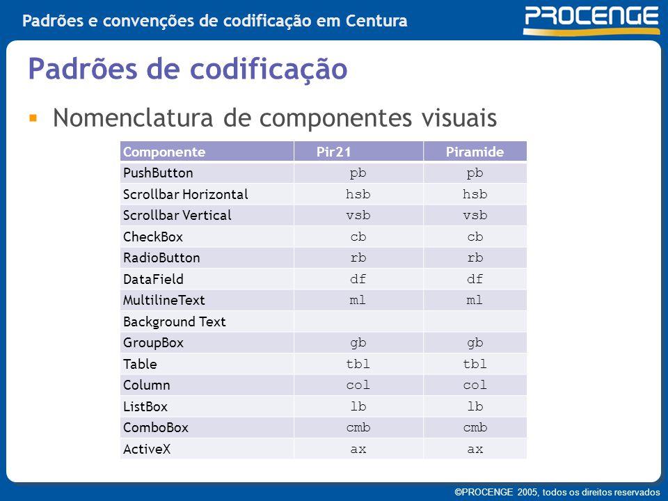 ©PROCENGE 2005, todos os direitos reservados Padrões e convenções de codificação em Centura  Nomenclatura de componentes visuais Padrões de codificaç