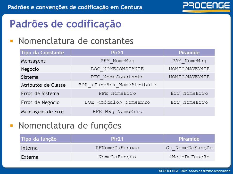 ©PROCENGE 2005, todos os direitos reservados Padrões e convenções de codificação em Centura  Nomenclatura de constantes  Nomenclatura de funções Pad