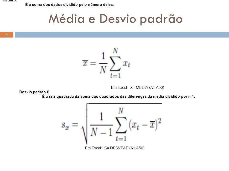 Média e Desvio padrão 4 Média X É a soma dos dados dividido pelo número deles. Em Excel: X= MEDIA (A1:A50) Desvio padrão S É a raiz quadrada da soma d