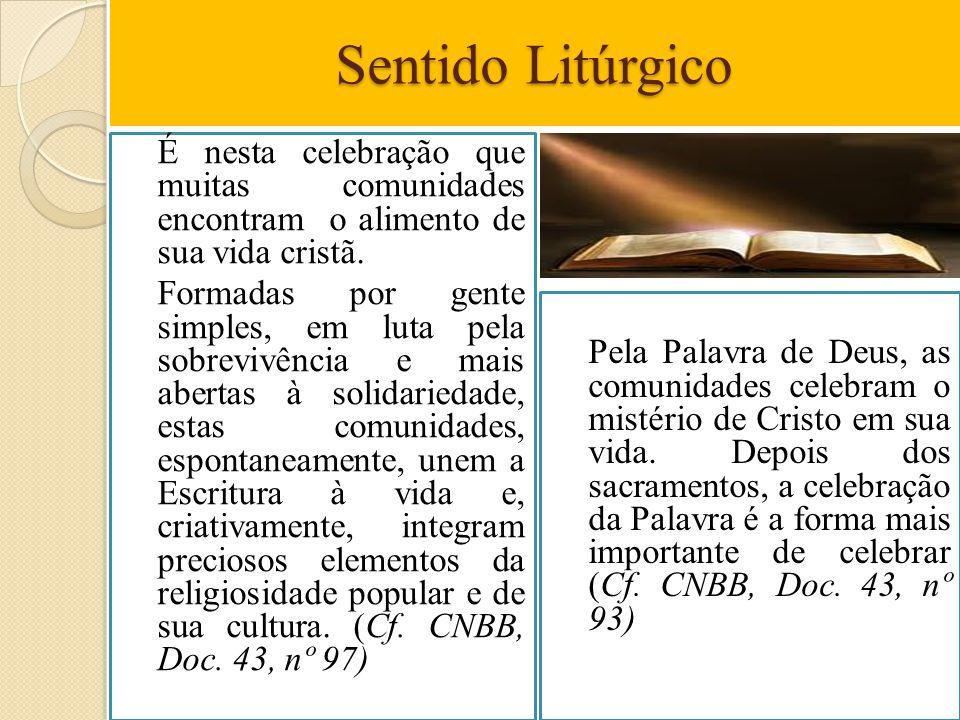 Sentido Litúrgico É nesta celebração que muitas comunidades encontram o alimento de sua vida cristã. Formadas por gente simples, em luta pela sobreviv