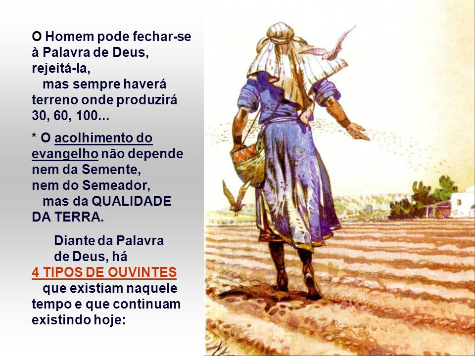 O Homem pode fechar-se à Palavra de Deus, rejeitá-la, mas sempre haverá terreno onde produzirá 30, 60, 100...