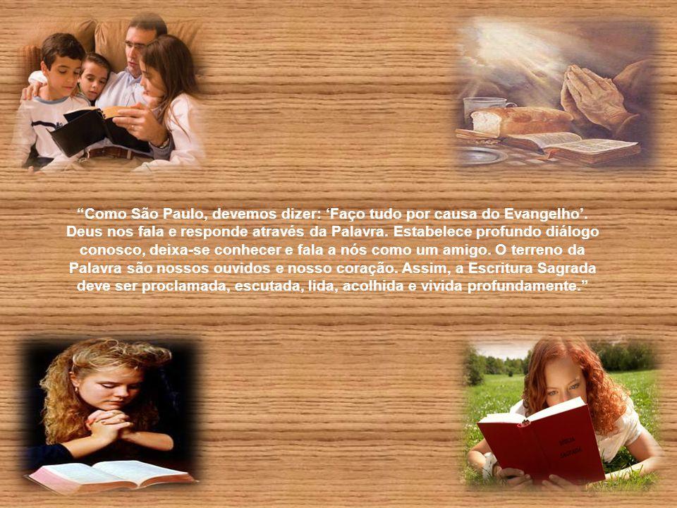 """""""A fé da Igreja se renova na Palavra de Deus; daí o deixar-se plasmar pelas Escrituras, que são o coração da vida cristã. A Igreja funda-se, nasce e v"""