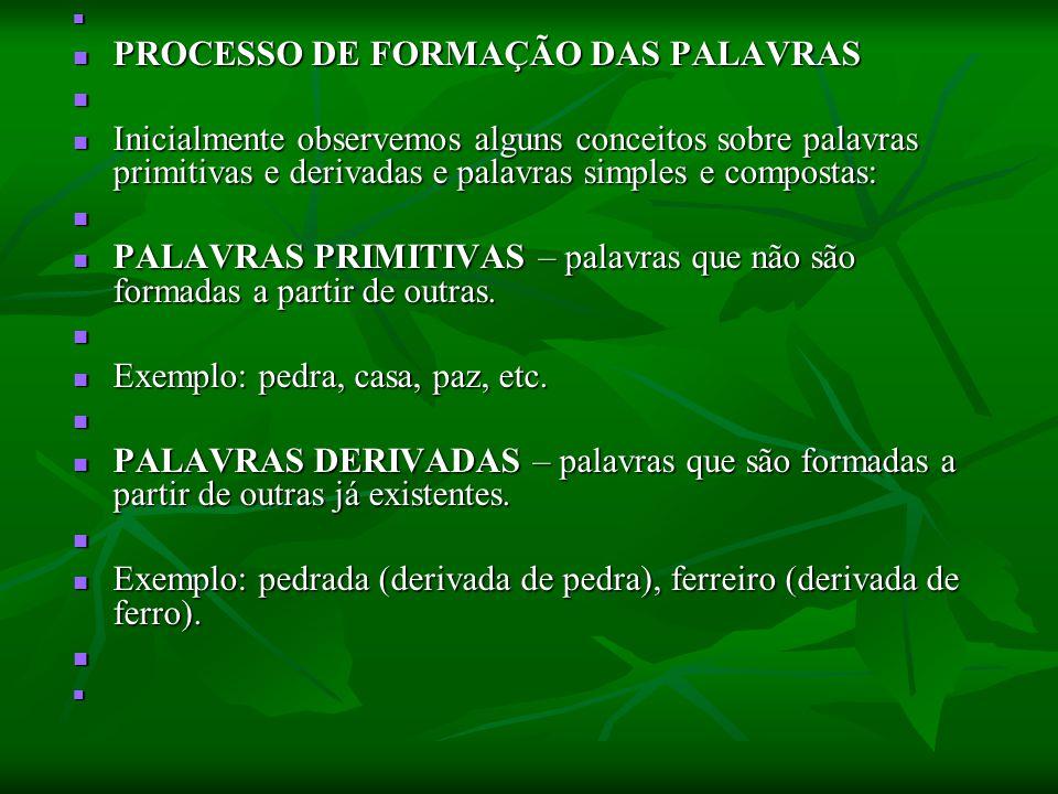 PROCESSO DE FORMAÇÃO DAS PALAVRAS PROCESSO DE FORMAÇÃO DAS PALAVRAS Inicialmente observemos alguns conceitos sobre palavras primitivas e derivadas e p