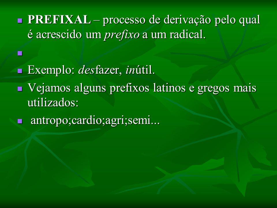 PREFIXAL – processo de derivação pelo qual é acrescido um prefixo a um radical. PREFIXAL – processo de derivação pelo qual é acrescido um prefixo a um