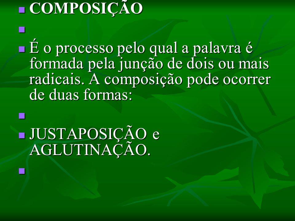 COMPOSIÇÃO COMPOSIÇÃO É o processo pelo qual a palavra é formada pela junção de dois ou mais radicais. A composição pode ocorrer de duas formas: É o p