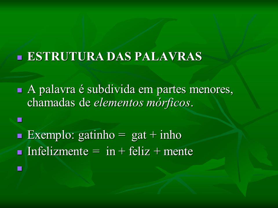 ESTRUTURA DAS PALAVRAS ESTRUTURA DAS PALAVRAS A palavra é subdivida em partes menores, chamadas de elementos mórficos. A palavra é subdivida em partes