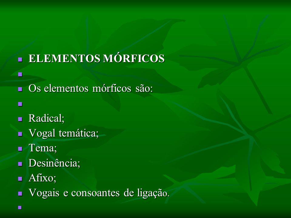 ELEMENTOS MÓRFICOS ELEMENTOS MÓRFICOS Os elementos mórficos são: Os elementos mórficos são: Radical; Radical; Vogal temática; Vogal temática; Tema; Te