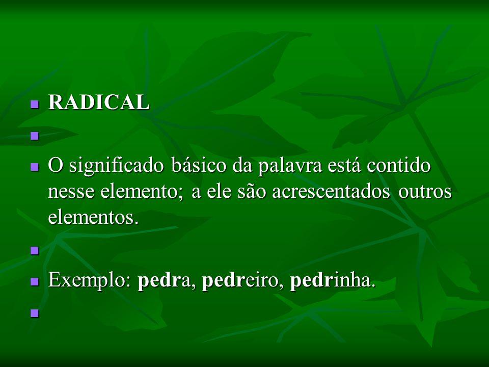 RADICAL RADICAL O significado básico da palavra está contido nesse elemento; a ele são acrescentados outros elementos. O significado básico da palavra