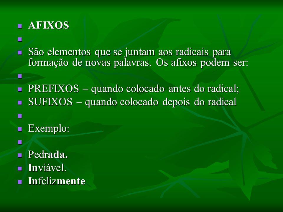 AFIXOS AFIXOS São elementos que se juntam aos radicais para formação de novas palavras. Os afixos podem ser: São elementos que se juntam aos radicais