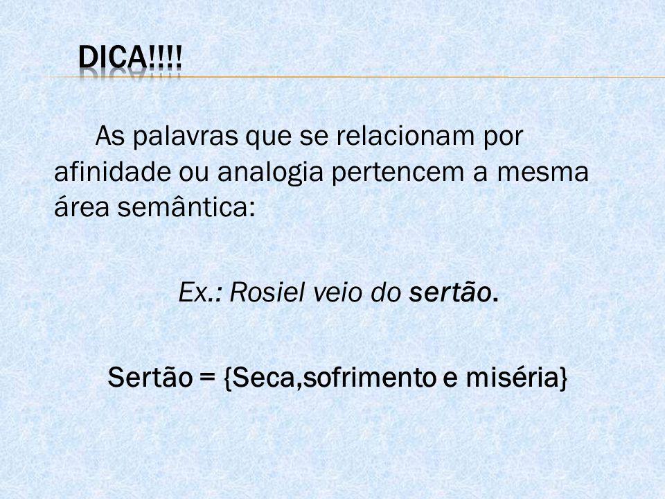 As palavras que se relacionam por afinidade ou analogia pertencem a mesma área semântica: Ex.: Rosiel veio do sertão. Sertão = {Seca,sofrimento e misé