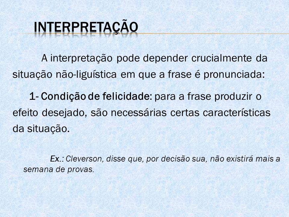 A interpretação pode depender crucialmente da situação não-liguística em que a frase é pronunciada: 1- Condição de felicidade: para a frase produzir o efeito desejado, são necessárias certas características da situação.