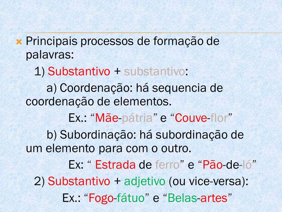  Principais processos de formação de palavras: 1) Substantivo + substantivo: a) Coordenação: há sequencia de coordenação de elementos.