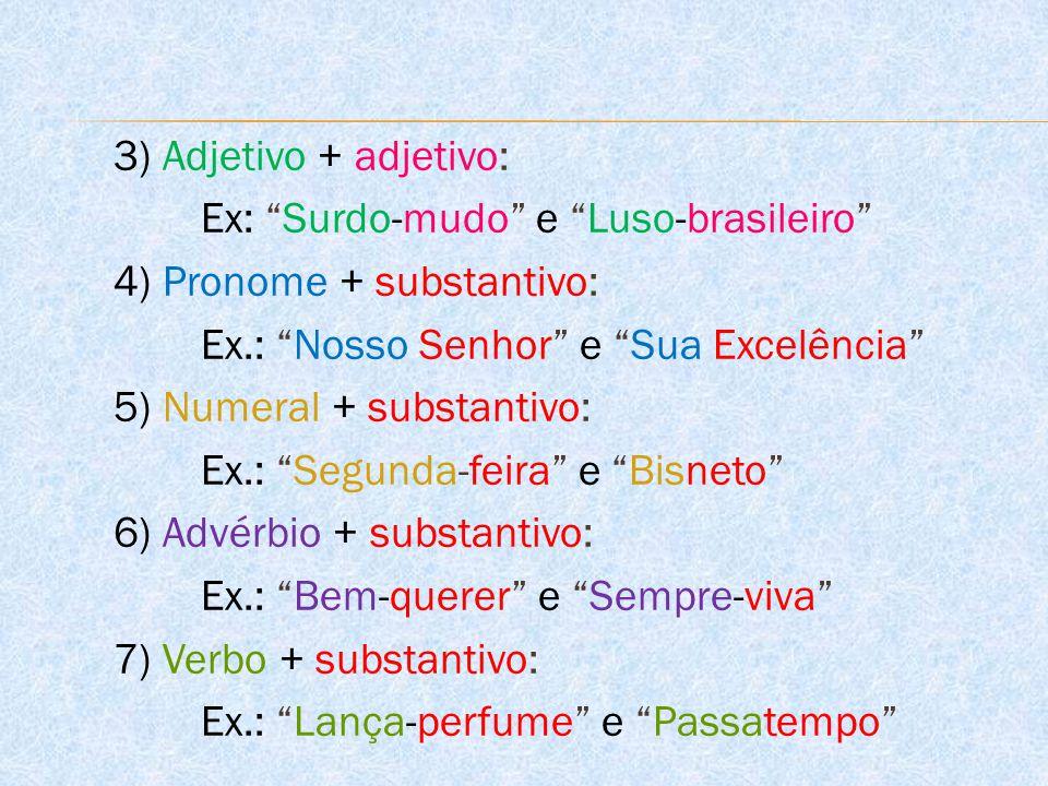 3) Adjetivo + adjetivo: Ex: Surdo-mudo e Luso-brasileiro 4) Pronome + substantivo: Ex.: Nosso Senhor e Sua Excelência 5) Numeral + substantivo: Ex.: Segunda-feira e Bisneto 6) Advérbio + substantivo: Ex.: Bem-querer e Sempre-viva 7) Verbo + substantivo: Ex.: Lança-perfume e Passatempo