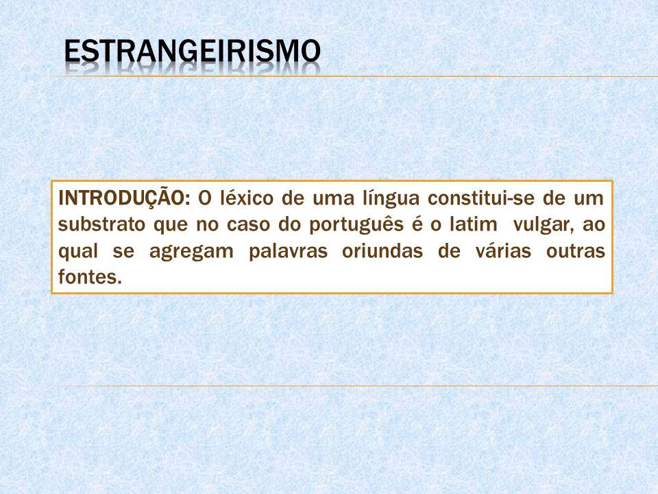 INTRODUÇÃO: O léxico de uma língua constitui-se de um substrato que no caso do português é o latim vulgar, ao qual se agregam palavras oriundas de várias outras fontes.