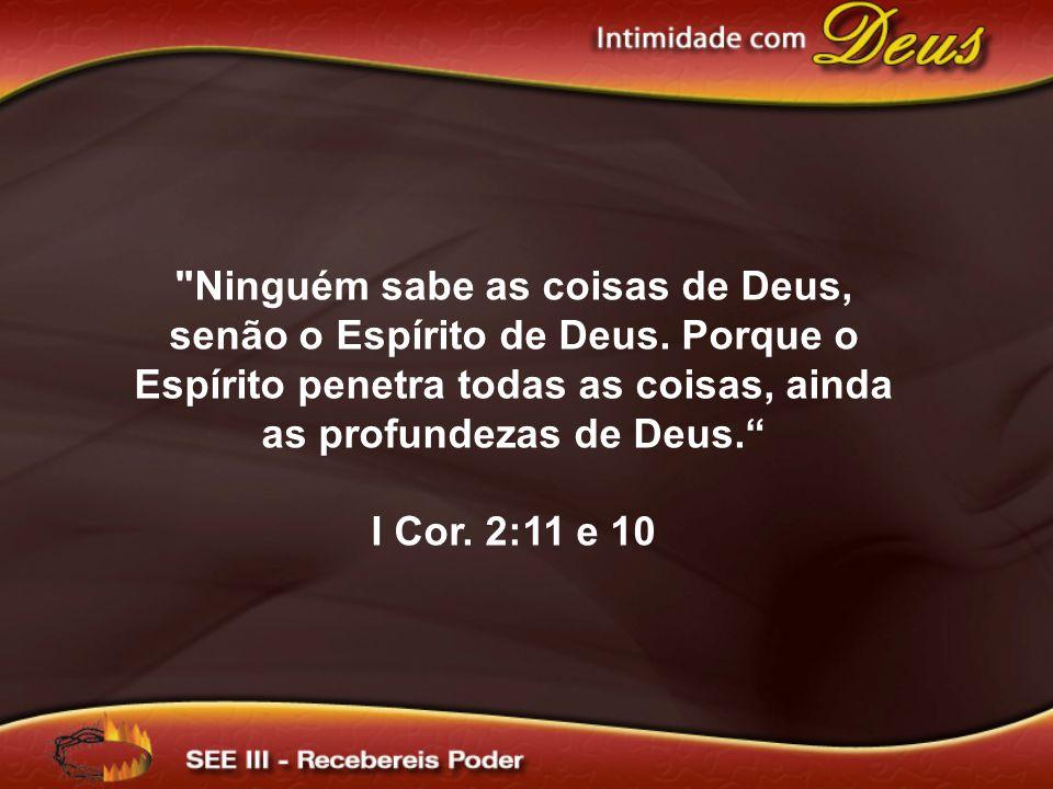 Ninguém sabe as coisas de Deus, senão o Espírito de Deus.