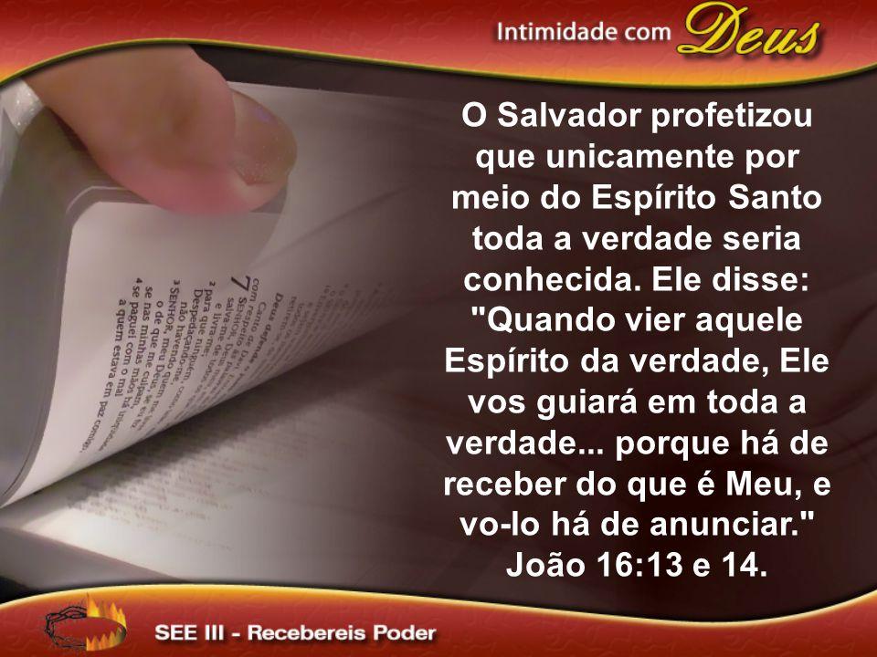 O Salvador profetizou que unicamente por meio do Espírito Santo toda a verdade seria conhecida.