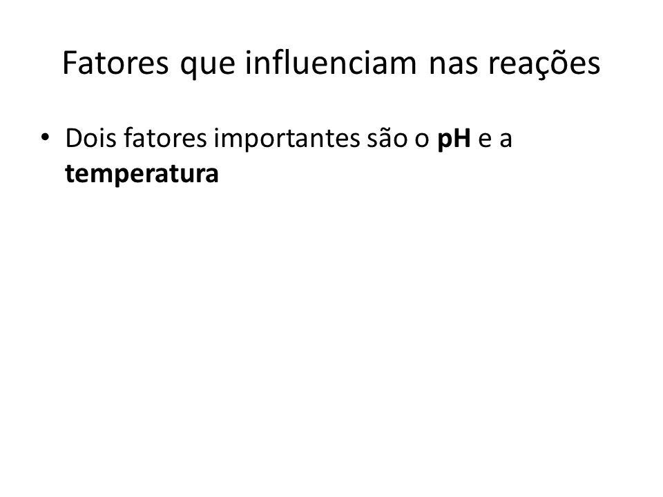 Fatores que influenciam nas reações Dois fatores importantes são o pH e a temperatura
