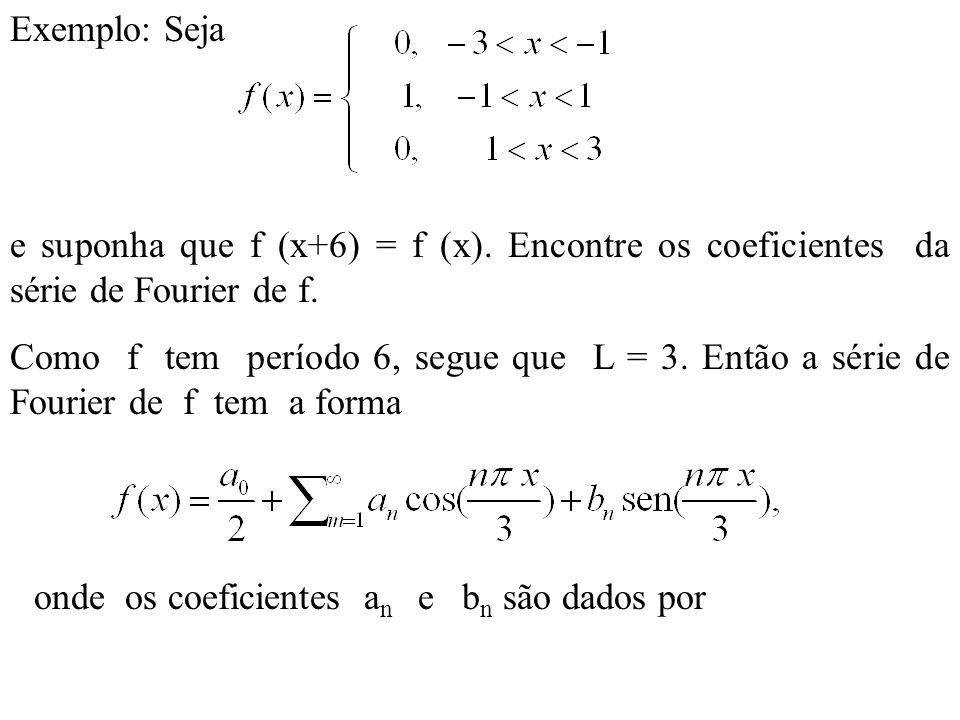 Similarmente, Logo a série de Fourier de f é