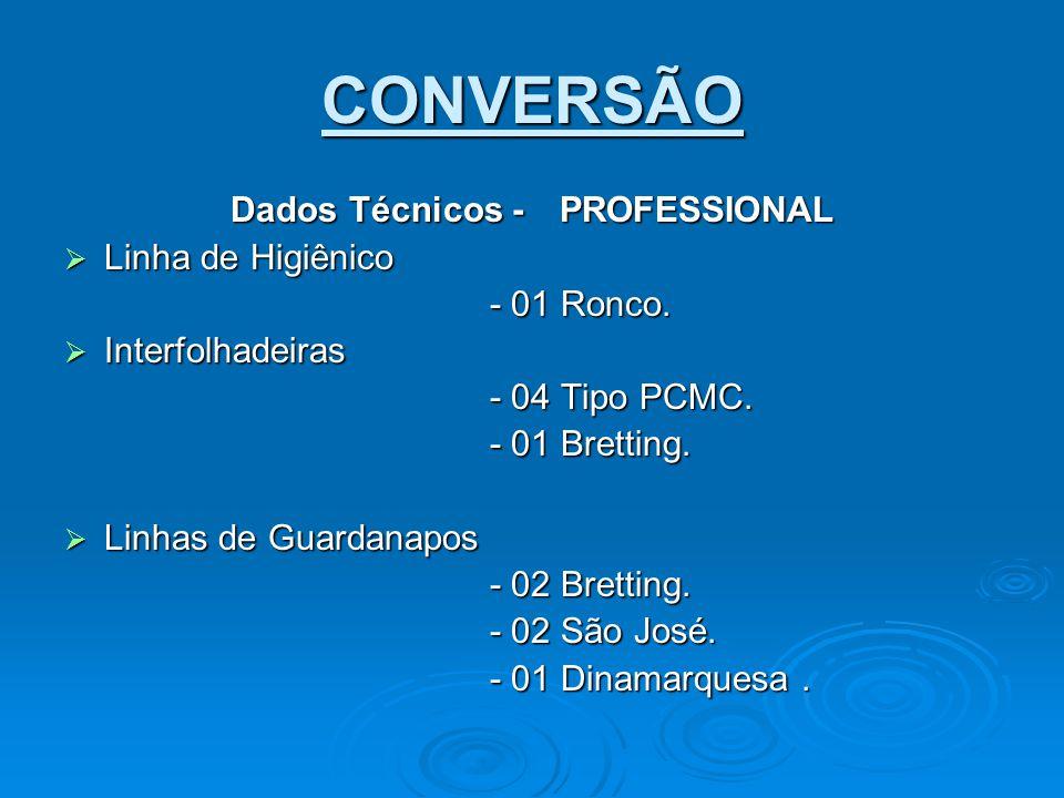 CONVERSÃO Dados Técnicos - PROFESSIONAL  Linha de Higiênico - 01 Ronco.  Interfolhadeiras - 04 Tipo PCMC. - 01 Bretting.  Linhas de Guardanapos - 0