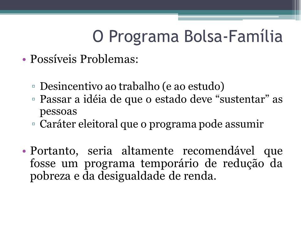 """O Programa Bolsa-Família Possíveis Problemas: ▫Desincentivo ao trabalho (e ao estudo) ▫Passar a idéia de que o estado deve """"sustentar"""" as pessoas ▫Car"""