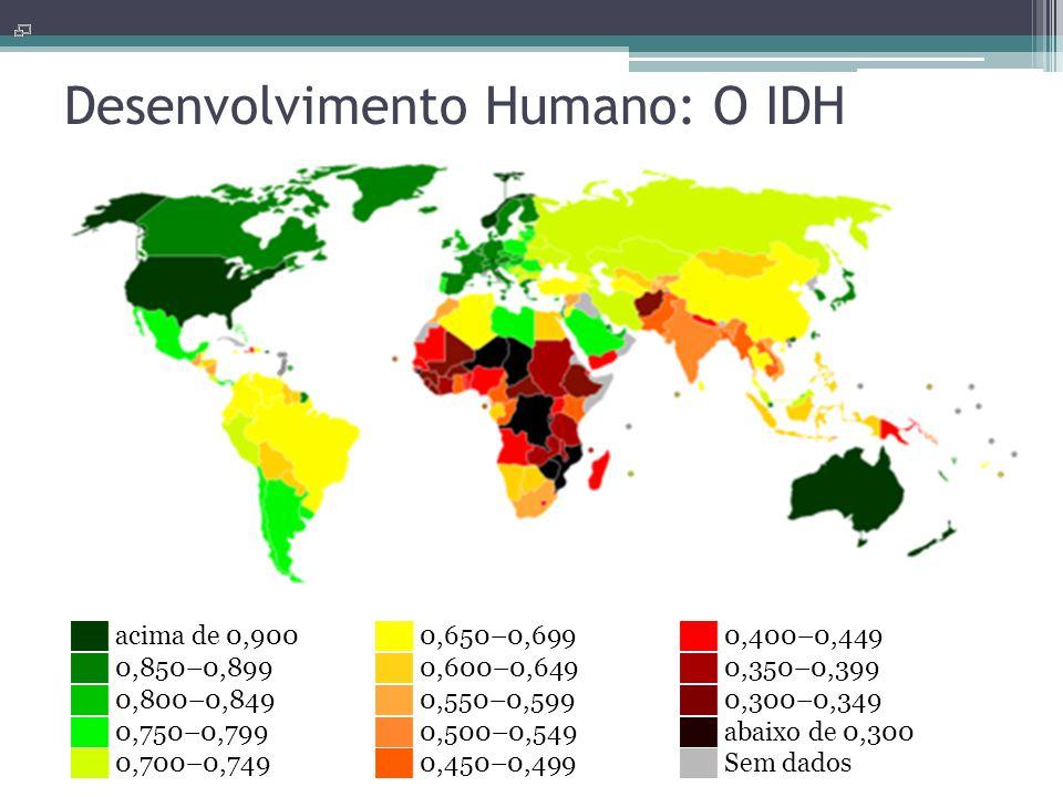 Desenvolvimento Humano: O IDH ██ acima de 0,900 ██ 0,850–0,899 ██ 0,800–0,849 ██ 0,750–0,799 ██ 0,700–0,749 ██ 0,650–0,699 ██ 0,600–0,649 ██ 0,550–0,5