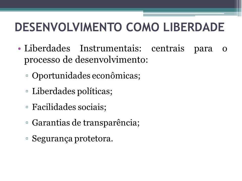 Liberdades Instrumentais: centrais para o processo de desenvolvimento: ▫Oportunidades econômicas; ▫Liberdades políticas; ▫Facilidades sociais; ▫Garant
