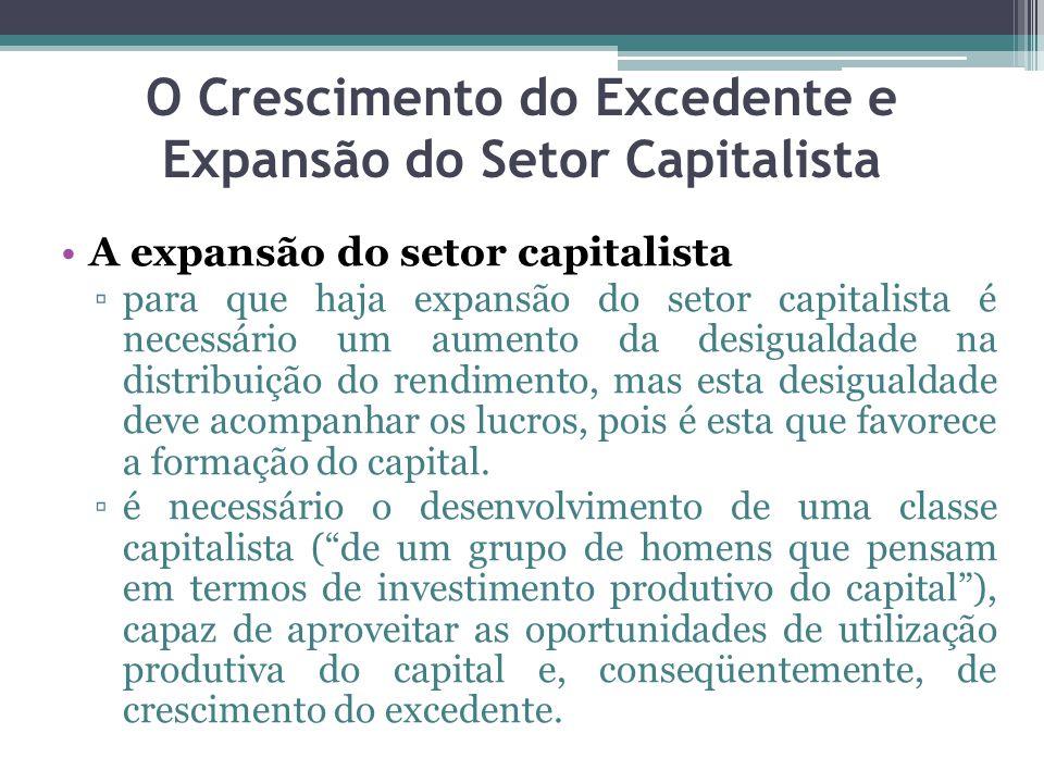 A expansão do setor capitalista ▫para que haja expansão do setor capitalista é necessário um aumento da desigualdade na distribuição do rendimento, mas esta desigualdade deve acompanhar os lucros, pois é esta que favorece a formação do capital.