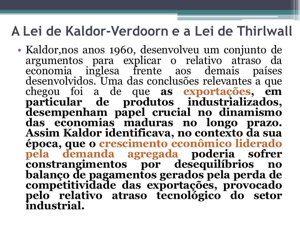 A Lei de Kaldor-Verdoorn e a Lei de Thirlwall Kaldor,nos anos 1960, desenvolveu um conjunto de argumentos para explicar o relativo atraso da economia inglesa frente aos demais países desenvolvidos.