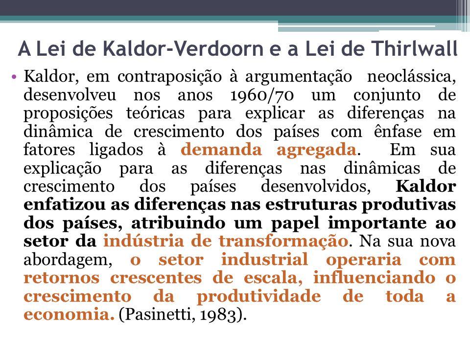 Kaldor, em contraposição à argumentação neoclássica, desenvolveu nos anos 1960/70 um conjunto de proposições teóricas para explicar as diferenças na dinâmica de crescimento dos países com ênfase em fatores ligados à demanda agregada.
