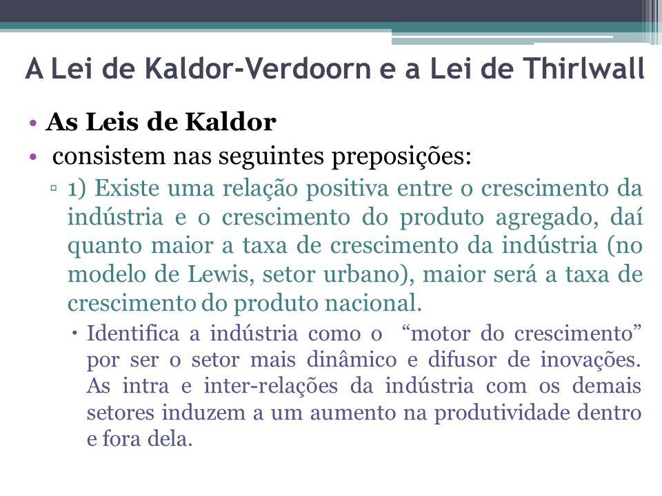 As Leis de Kaldor consistem nas seguintes preposições: ▫1) Existe uma relação positiva entre o crescimento da indústria e o crescimento do produto agr