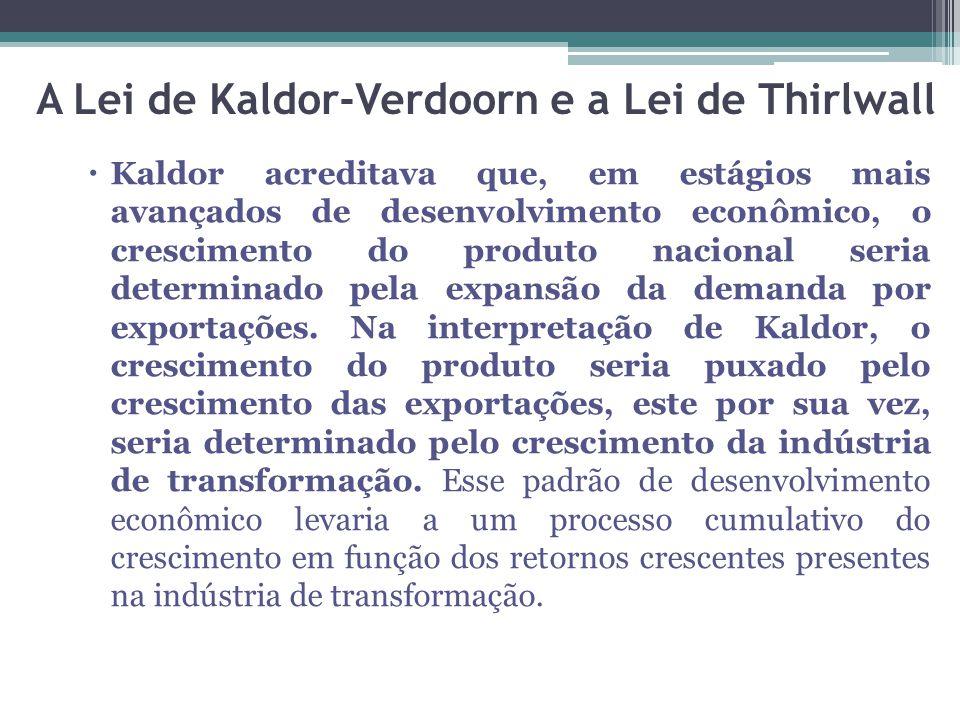  Kaldor acreditava que, em estágios mais avançados de desenvolvimento econômico, o crescimento do produto nacional seria determinado pela expansão da demanda por exportações.