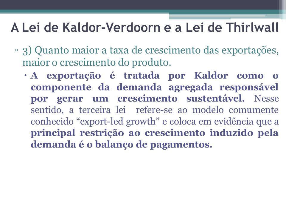 ▫3) Quanto maior a taxa de crescimento das exportações, maior o crescimento do produto.  A exportação é tratada por Kaldor como o componente da deman