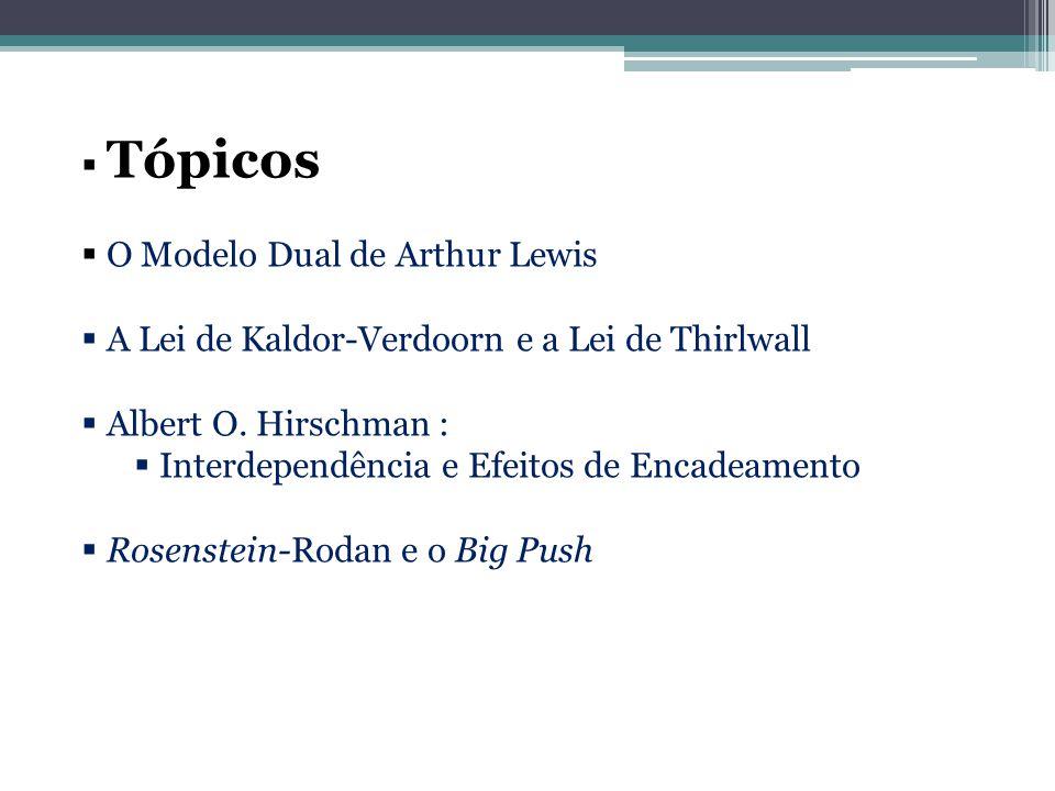  Tópicos  O Modelo Dual de Arthur Lewis  A Lei de Kaldor-Verdoorn e a Lei de Thirlwall  Albert O. Hirschman :  Interdependência e Efeitos de Enca