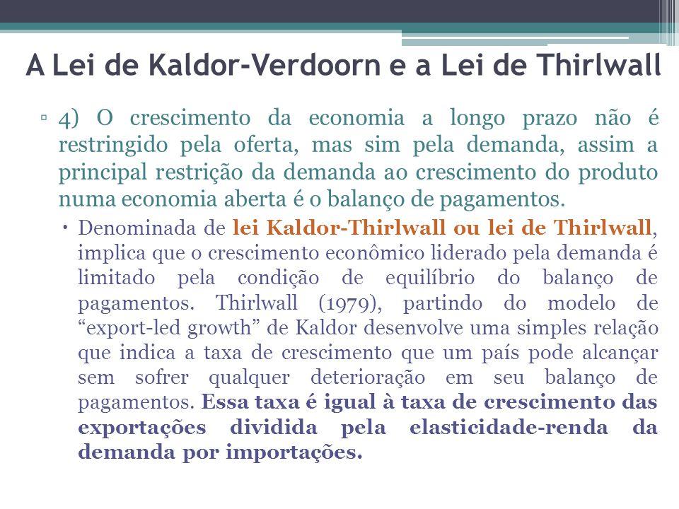 ▫4) O crescimento da economia a longo prazo não é restringido pela oferta, mas sim pela demanda, assim a principal restrição da demanda ao crescimento do produto numa economia aberta é o balanço de pagamentos.