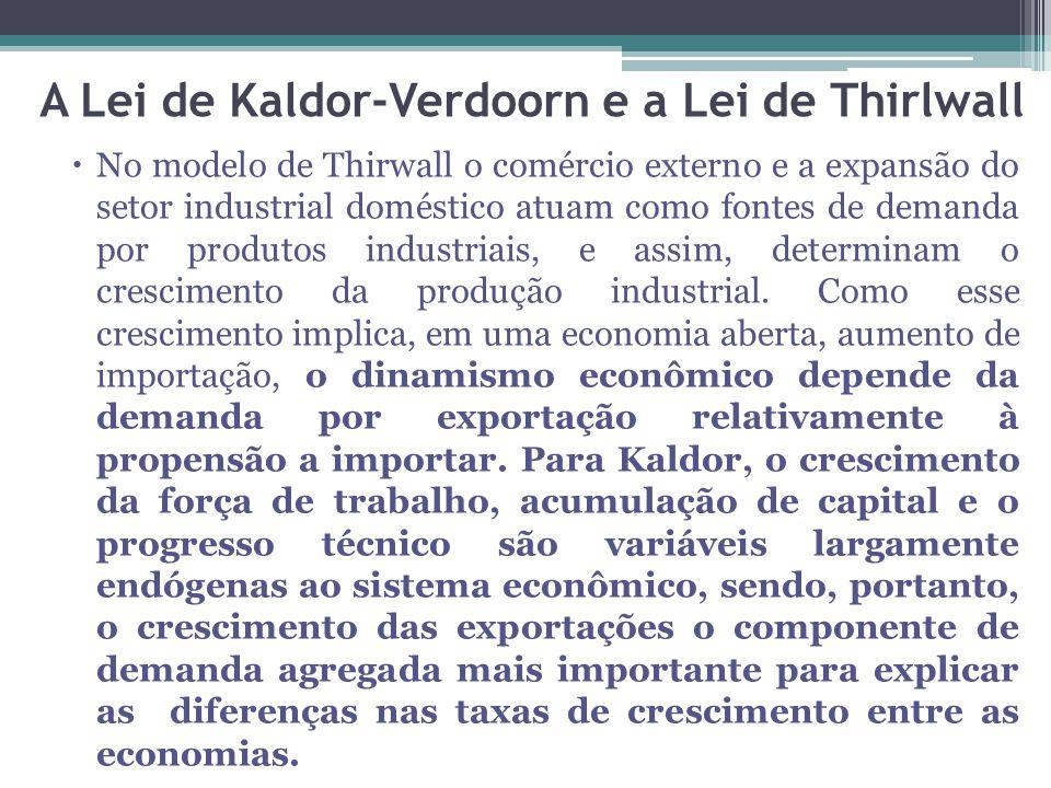 No modelo de Thirwall o comércio externo e a expansão do setor industrial doméstico atuam como fontes de demanda por produtos industriais, e assim, determinam o crescimento da produção industrial.