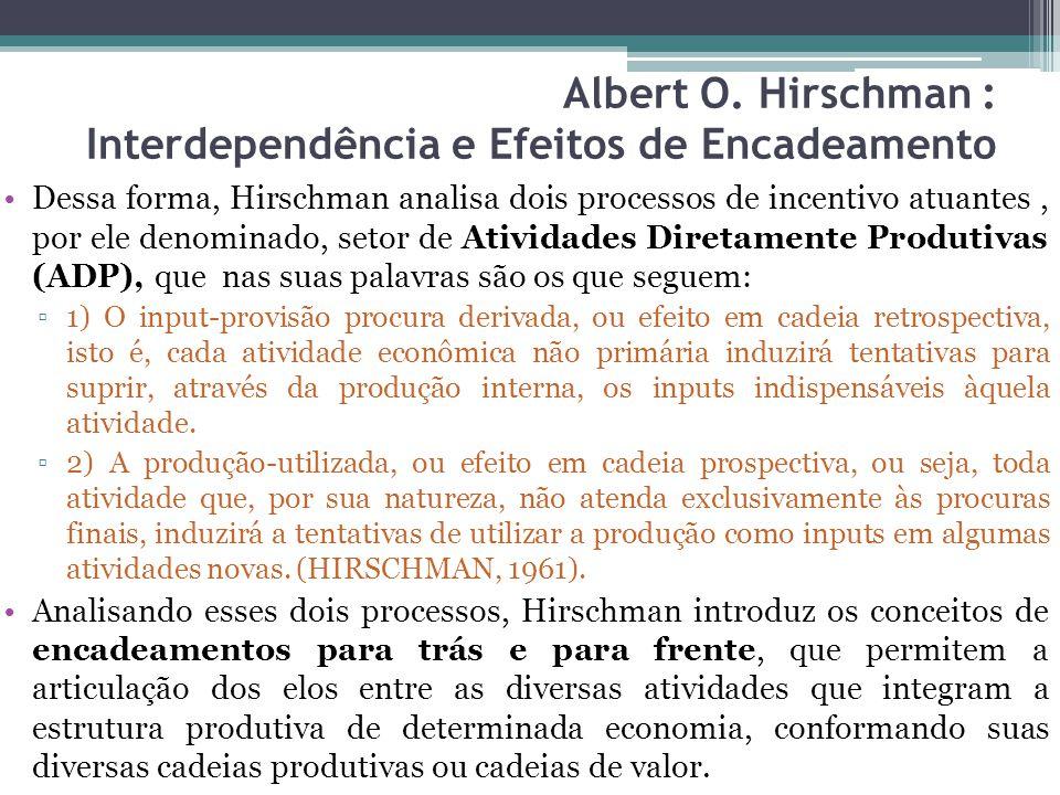 Dessa forma, Hirschman analisa dois processos de incentivo atuantes, por ele denominado, setor de Atividades Diretamente Produtivas (ADP), que nas suas palavras são os que seguem: ▫1) O input-provisão procura derivada, ou efeito em cadeia retrospectiva, isto é, cada atividade econômica não primária induzirá tentativas para suprir, através da produção interna, os inputs indispensáveis àquela atividade.