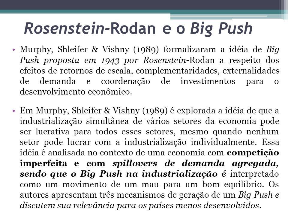 Rosenstein-Rodan e o Big Push Murphy, Shleifer & Vishny (1989) formalizaram a idéia de Big Push proposta em 1943 por Rosenstein-Rodan a respeito dos efeitos de retornos de escala, complementaridades, externalidades de demanda e coordenação de investimentos para o desenvolvimento econômico.