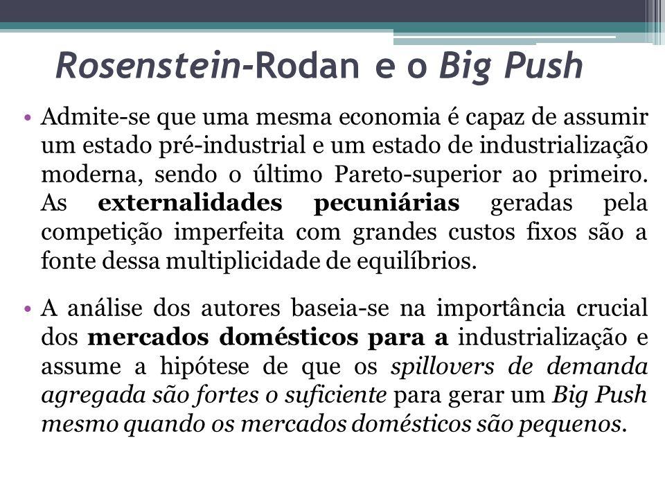 Admite-se que uma mesma economia é capaz de assumir um estado pré-industrial e um estado de industrialização moderna, sendo o último Pareto-superior a