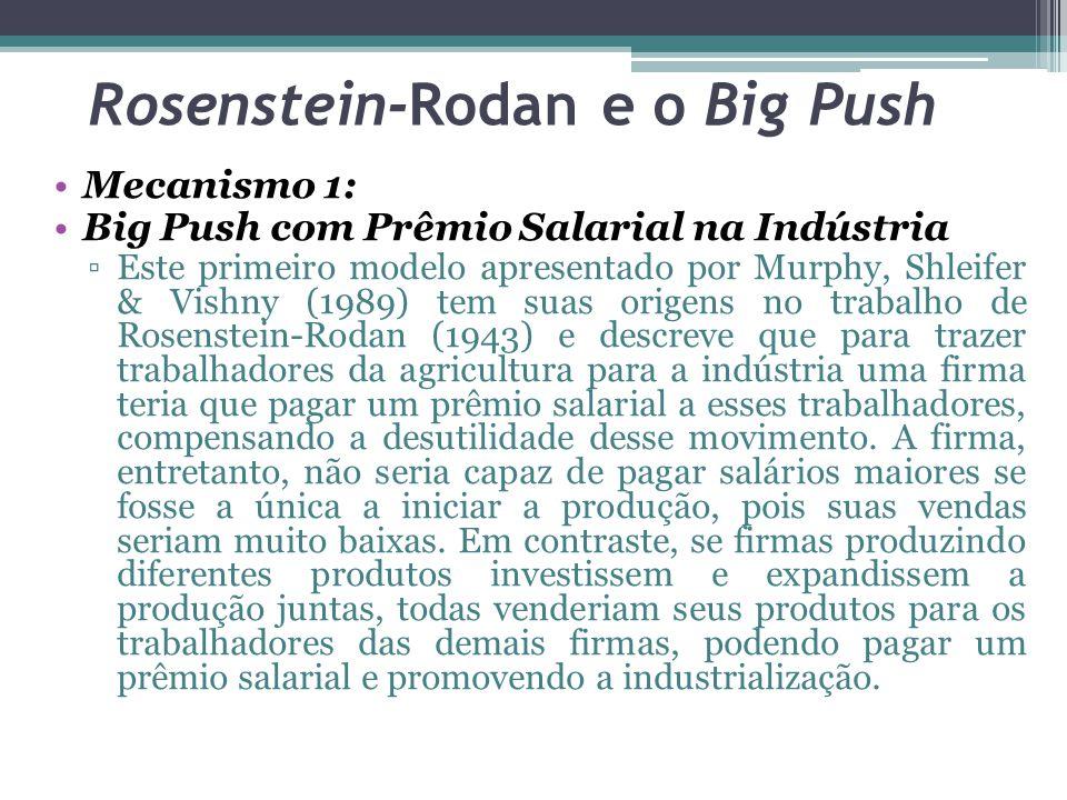 Mecanismo 1: Big Push com Prêmio Salarial na Indústria ▫Este primeiro modelo apresentado por Murphy, Shleifer & Vishny (1989) tem suas origens no trab
