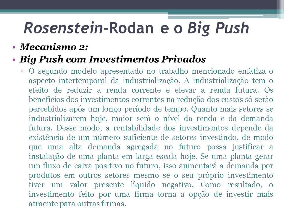 Mecanismo 2: Big Push com Investimentos Privados ▫O segundo modelo apresentado no trabalho mencionado enfatiza o aspecto intertemporal da industrialização.