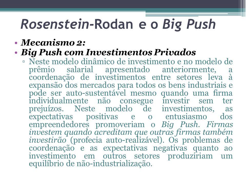 Mecanismo 2: Big Push com Investimentos Privados ▫Neste modelo dinâmico de investimento e no modelo de prêmio salarial apresentado anteriormente, a coordenação de investimentos entre setores leva à expansão dos mercados para todos os bens industriais e pode ser auto-sustentável mesmo quando uma firma individualmente não consegue investir sem ter prejuízos.