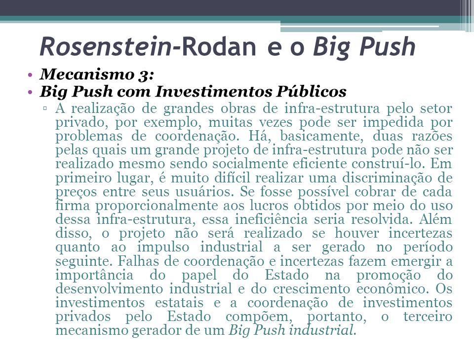 Mecanismo 3: Big Push com Investimentos Públicos ▫A realização de grandes obras de infra-estrutura pelo setor privado, por exemplo, muitas vezes pode ser impedida por problemas de coordenação.