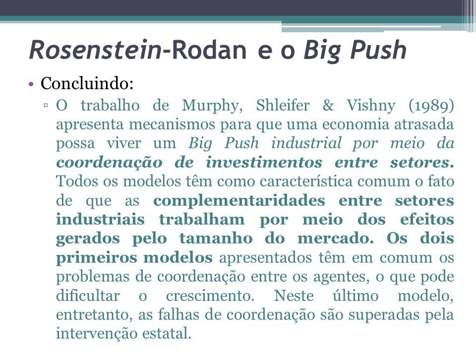 Concluindo: ▫O trabalho de Murphy, Shleifer & Vishny (1989) apresenta mecanismos para que uma economia atrasada possa viver um Big Push industrial por meio da coordenação de investimentos entre setores.