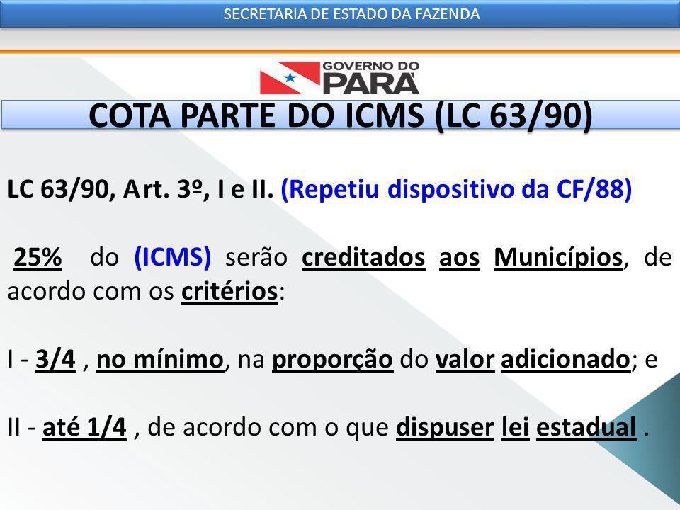 COTA PARTE DO ICMS (LC 63/90) LC 63/90, Art. 3º, I e II.