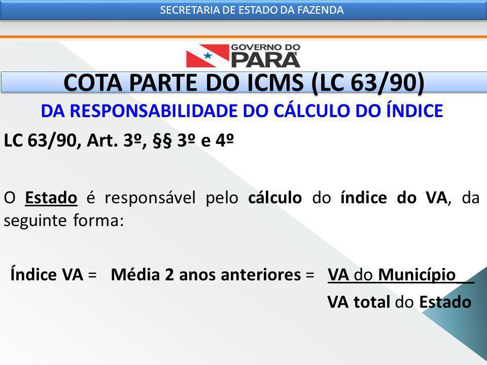 COTA PARTE DO ICMS (LC 63/90) DA RESPONSABILIDADE DO CÁLCULO DO ÍNDICE LC 63/90, Art.