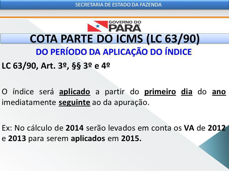 COTA PARTE DO ICMS (LC 63/90) DO PERÍODO DA APLICAÇÃO DO ÍNDICE LC 63/90, Art.