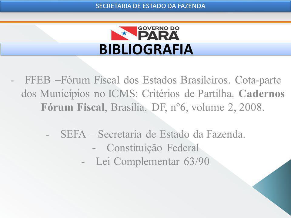 BIBLIOGRAFIA -FFEB  Fórum Fiscal dos Estados Brasileiros.