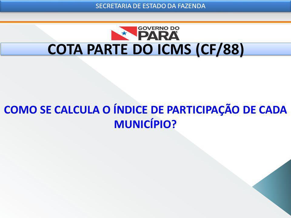 COTA PARTE DO ICMS (CF/88) COMO SE CALCULA O ÍNDICE DE PARTICIPAÇÃO DE CADA MUNICÍPIO.