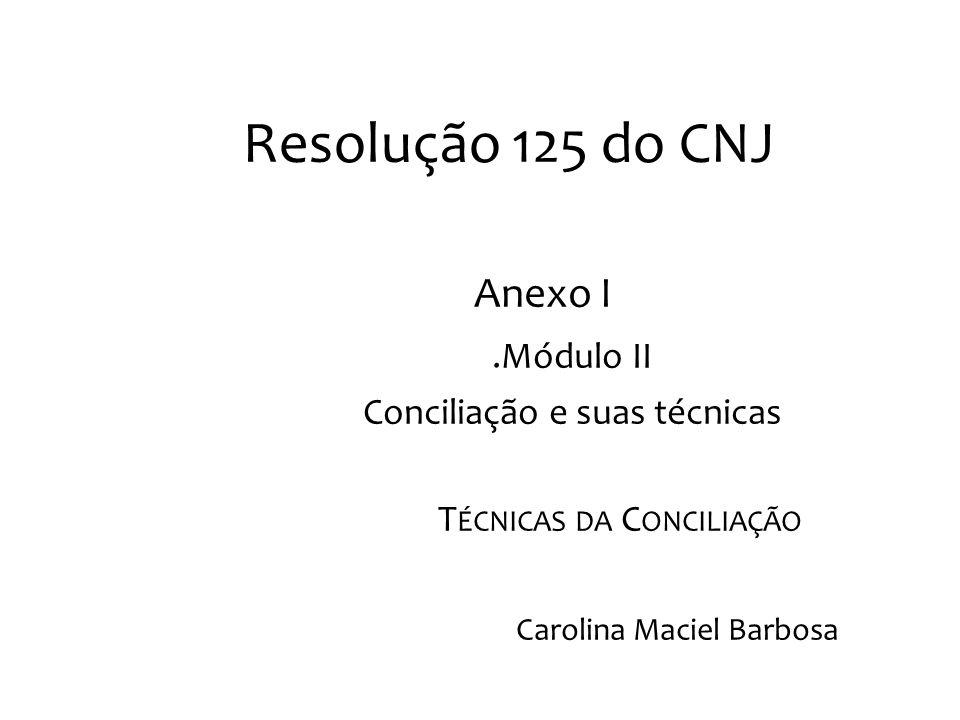 Resolução 125 do CNJ Anexo I.Módulo II Conciliação e suas técnicas T ÉCNICAS DA C ONCILIAÇÃO Carolina Maciel Barbosa